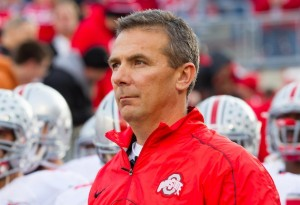 Nov 17, 2012; Madison, WI, USA;  Ohio State Buckeyes head coach Urban Meyer stands prior to taking the field prior to the game against the Wisconsin Badgers at Camp Randall Stadium.  Ohio State defeated Wisconsin 21-14 in overtime.  Mandatory Credit: Jeff Hanisch-USA TODAY Sports
