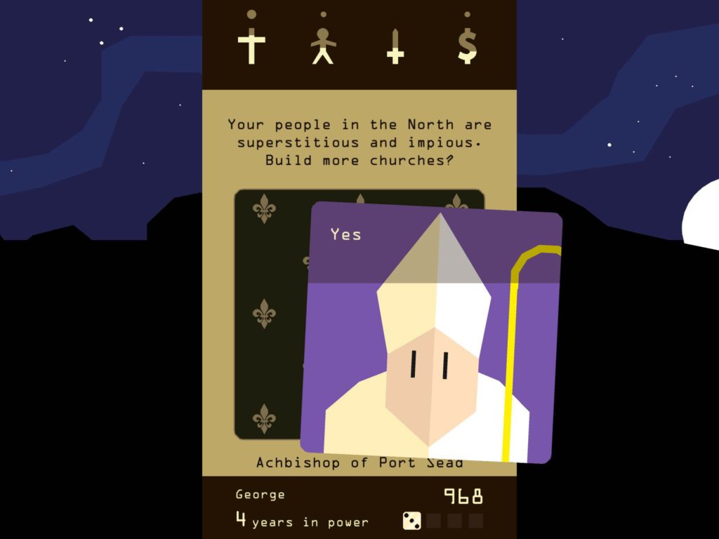 Control bards and barons in iPhone app Reigns