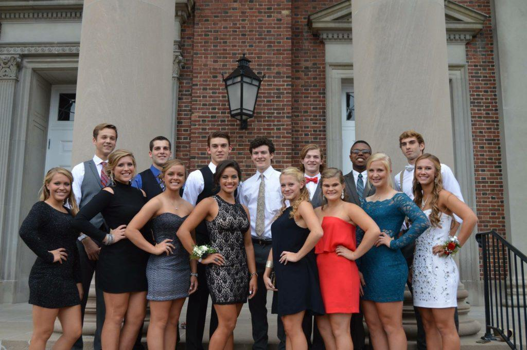 A+group+of+seniors+gathered+photo+at+Denison+prior+to+last+years+Homecoming+Dance.++The+dance+is+the+last+activity+of+the+busy+Homecoming+week.+%28Photo+courtesy+of++Maggie+Wolf%29