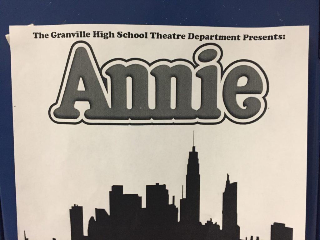 Annie posters decorate the school hallways in honor of the cast. Picture provided by Kenzie Chesrown.
