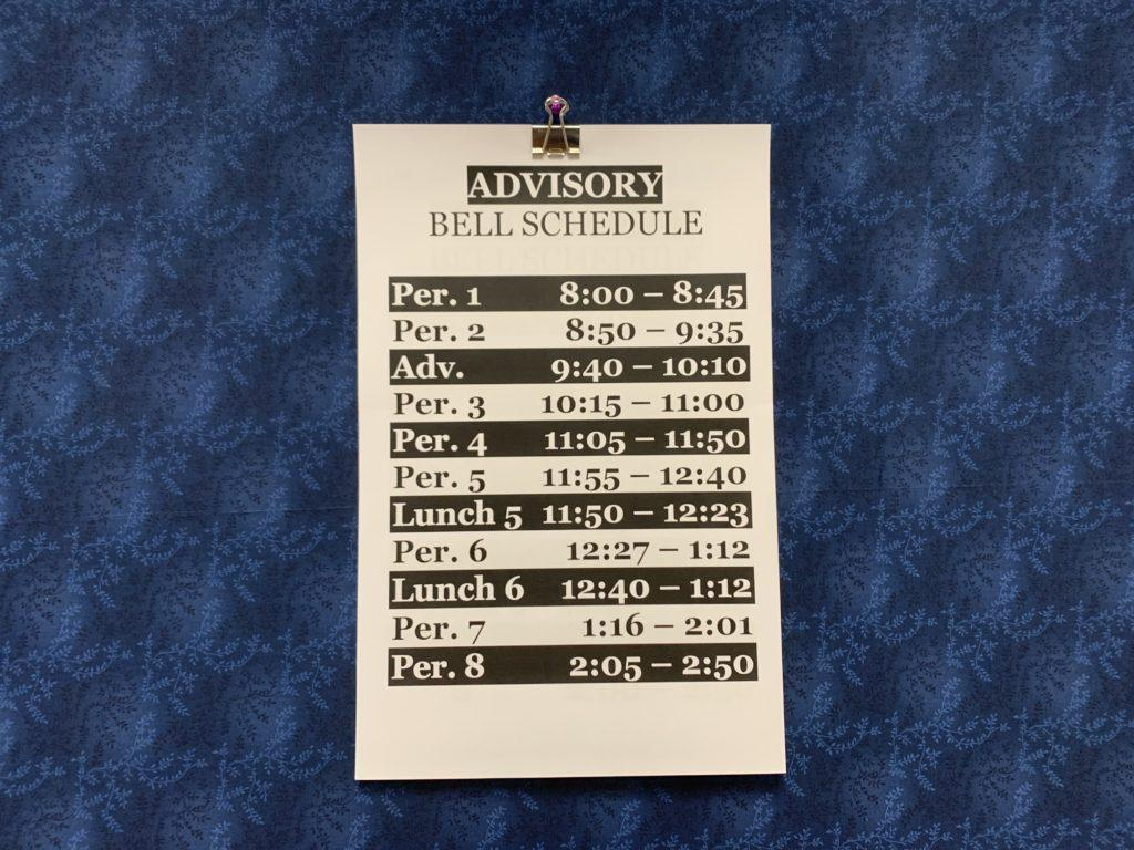 The schedule for advisory period days. Photo courtesy of Grace Portzline.
