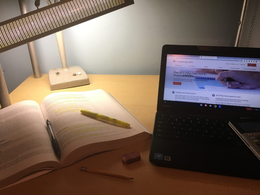 To any junior or senior, nights where your desk looks like this are very common. (BluePrints Photo/Nicholas Williams)