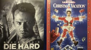 Covers from Die Hard (Left) and National Lampoons Christmas Vacation (Right) that depict two very different types of Christmas movies