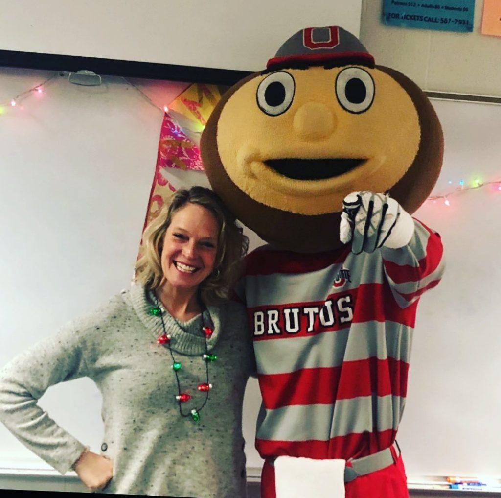 Brutus cheers on students before exams