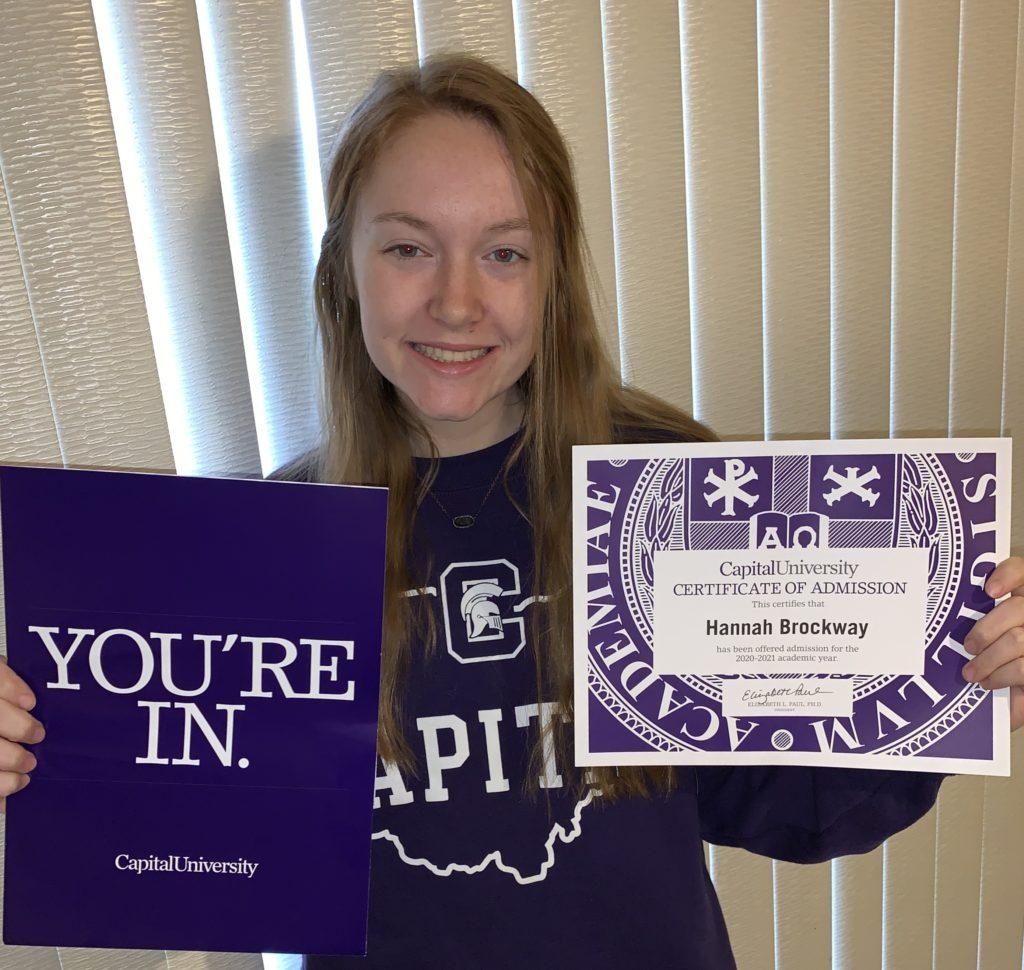 Hannah Brockway celebrating her admission into Capital (Photo courtesy of Hannah Brockway).