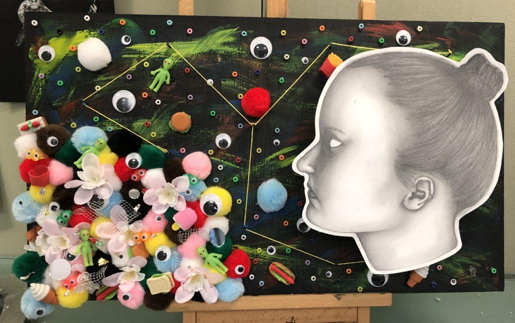 Addy Havens multimedia painting of her struggles with ADHD (BluePrints/ Kennedy Ogden).