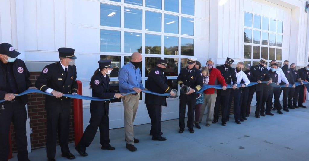Grand opening of new fire station takes place in front of garage. Photo courtesy of Granville Fire Department