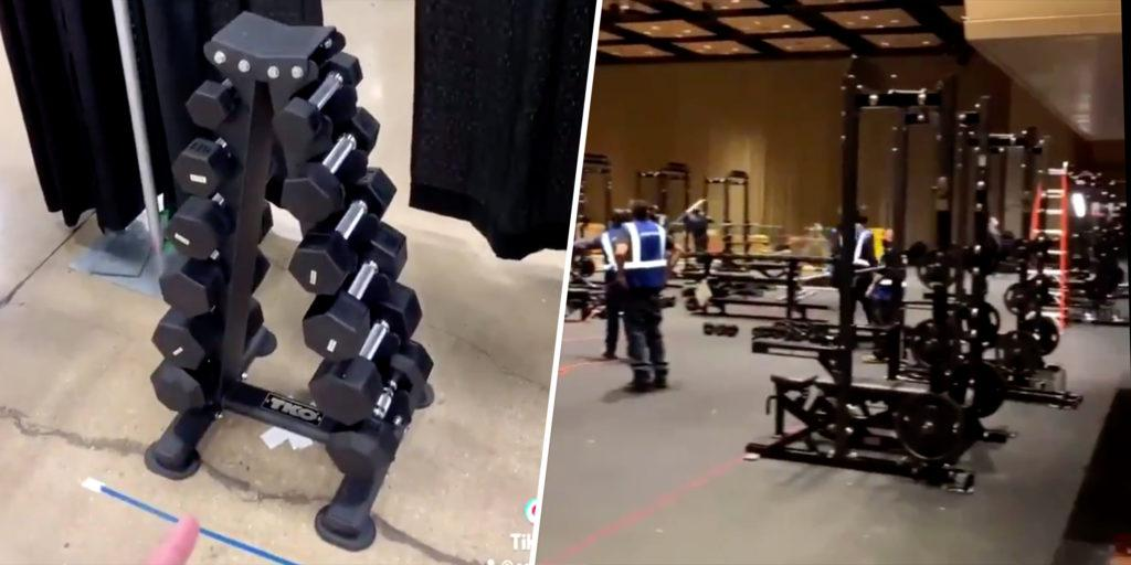 comparison of the womens vs. mens NCAA weight rooms